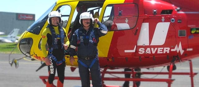 Peter Moate in the Westpac Lifesaving Helicopter